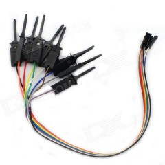 10 X Clip Pinza Gancho Test Con Cable Dupont 30cm Negro Tytarg