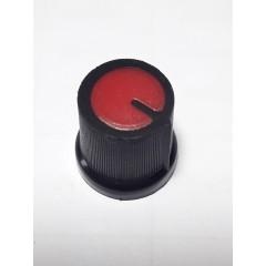 Perilla Potenciometro 15 X 17 X 6mm Estriada Negra Superficie Roja Itytarg