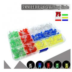 Kit Caja 500 Led 5mm Difuso 5 Colores 100 C/u Proyectos Arduino  Itytarg