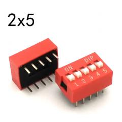 Lote 5 X Dip Switch Rojo 5pin Pitch 2.54mm 24v 25ma Itytarg
