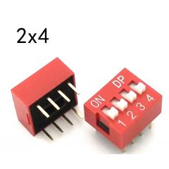 Lote 5 X Dip Switch Rojo 4pin Pitch 2.54mm 24v 25ma Itytarg