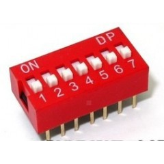 Lote 5 X Dip Switch Rojo 7pin Pitch 2.54mm 24v 25ma Itytarg