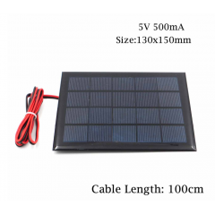 Panel Solar 5v 500ma 2.5w Cnc130x150-5 13x15cm Con Cable 1 Metro  Itytarg