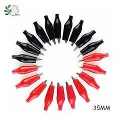 Juego 20 X Pinza Cocodrilo Mediano Clips 10 Negro 10 Rojo  35mm Itytarg