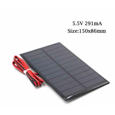 Panel Solar 5.5v 291ma  1.6w Cnc150x86mm C/cable 90cm Itytarg