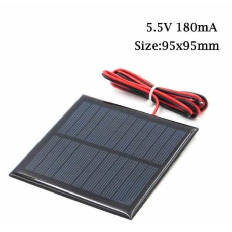 Panel Solar 5.5v 180ma 1w Cnc95x95mm C/cable 90cm Itytarg