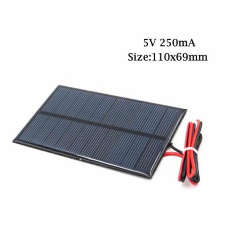 Panel Solar 5v 250ma 1.25w Cnc110x69mm C/cable 20cm Itytarg